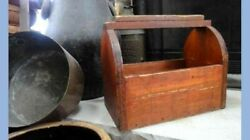 Antique Early Handmade Wood Shoe Shine Tote,orig.red Stain W/tins And Glass Folky