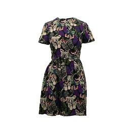 Nwt Valentino Black/multi-color Short Sleeve Butterfly Dress 6/42 7070