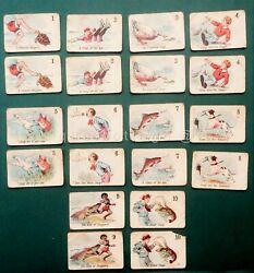 1800s Antique Victorian Snap Playing Card Game Black Americana Alligator Lobster