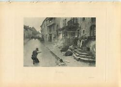 Antique Town Village Seige Family Brave Hero Rifle Smoke Dust Horse Ivy Print