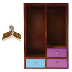 1/6 Doll House Wooden Wardrobe And Clothes Hangers Model Furniture Accessories