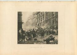 Antique July 1830 French Revolution Barricade Soldiers Town Folks Village Print