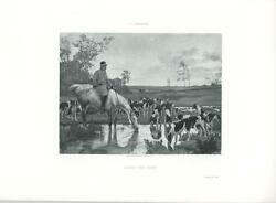 Antique Equestrian Horse Horn Hound Dogs Drinking Water After The Hunt Art Print