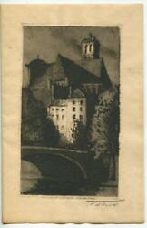 Antique Rare Ps Signed Etching St. Gervais Church Paris Christmas Greeting Card
