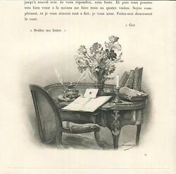 Antique Victorian Desk Inkwell Feather Pen Writing Letters Chair Table Print