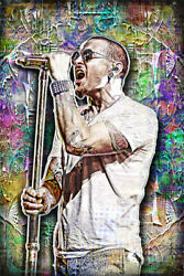 Chester Bennington Tribute 24x36in Poster Linkin Park Color Art Free Shipping