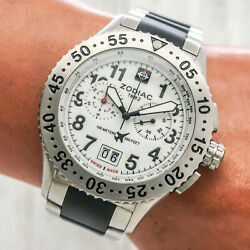 Zodiac Dragon Wing Mens Watch Zo7403 White Chronograph Date Stainless Working