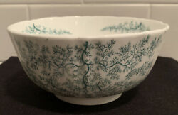 Antique Vintage Victorian Staffordshire Green Seaweed Bowl 1850s