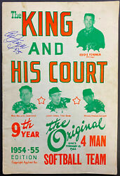 1954 The King And His Court Eddie Feigner Autographed Signed Program Cover