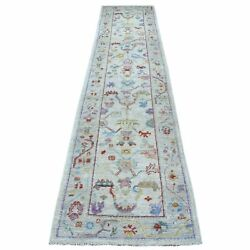 2and0399x13and03910 Hand Knotted Angora Oushak Shiny And Vibrant Wool Runner Rug R55375