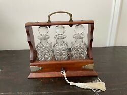 Antique English Miniature Oak Tantalus Cabinet W 3 Crystal Decanters Working Key