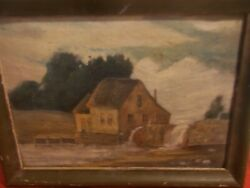 Antique Double Sided Oil Painting Landscape On Cloth Framed