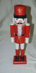 Red White Soldier Guard Nutcracker 13.5 Wood Wooden Holiday Xmas Vintage '92