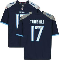 Ryan Tannehill Tennessee Titans Signed Navy Game Jersey With Tannessee Insc