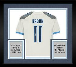 Framed A.j. Brown Tennessee Titans Autographed White Nike Game Jersey