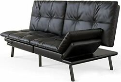 Futon Sofa Bed Convertible Sleeper Sofa Faux Leather Couch Daybed With Quick Adj