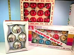 Coby Glass, Woolworths And Pyramid Glass Christmas Ornaments Lot