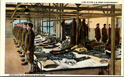 Vtg Life In Us Army Cantonment Inspection Of Sleeping Quarters Military Postcard