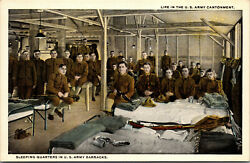 Vtg Life In Us Army Cantonment Sleeping Quarters Barracks Wwi Military Postcard