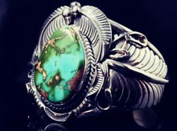 Native American Navajo Royston Turquoise Sterling Silver Signed Cuff Bracelet