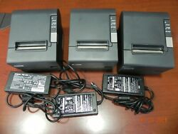 Lot 3 Epson M129h Tm-t88iv Thermal Receipt Printer Usb With Ac Adapter