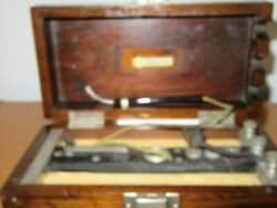 Antique Electrical Test Meter Wood Case Hinged Box