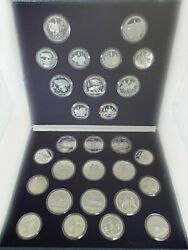 1980 Moscow Olympic Games Full 28pc Silver Proof Set W/original Box And Coa