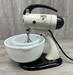 Vintage Sunbeam Mixmaster S Automatic 10spd Mixer W/ 2 Bowls And 2 Mixers 1930and039s