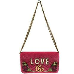 488426 Gg Marmont Chain Shoulder Bag Pink Compact Women And039s No.8319