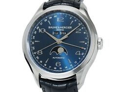 Unused Baume And Mercier Clifton Moon Phase Moa10057 Ss Auto Menand039s Watchf6612