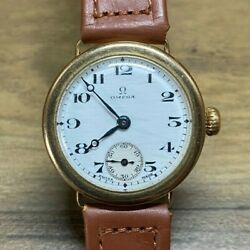 Rare Vintage 9ct Gold Omega Mens Officers Trench Style Watch 1930 - 15j 26.5 Sob