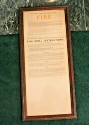 Old Framed New England Telephone And Telegraph Fire Alarm/drill Instruction