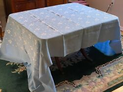 Vintage Pale Blue Table Linens Set Tablecloth And 17 Napkins Pre-owned
