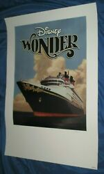 Disney Wonder Cruise Line Dcl Inaugural Art Print/lithograph Signed / And039d 1999