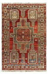 5and0392and039 X 7and0396 Hand Knotted Caucasian Kazak Rust Wool Tribal Antique Oriental Rug