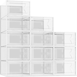 12 Pack Shoe Storage Box, Clear Plastic Stackable Shoe Organizer For Closet, Spa