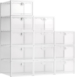 Pinkpum Stackable Shoe Box, 12 Pack Large Clear Plastic Shoe Storage Foldable Sn