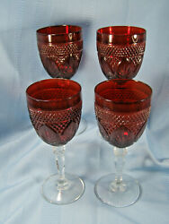 Crystal D'arques Durand Ruby Red 10oz Water/wine Goblets Set Of Four