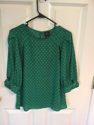 Worthington Chain Green amp; Black Extra Small Women's Top 3 4 Sleeves New With Tag $12.95