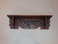 Antique English Arts And Crafts Clothes Hall Tree Shelf Aesthetic Movement