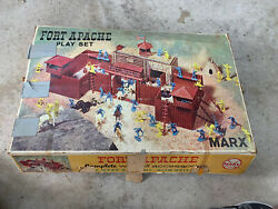 Vintage 1960s Marx Toys Fort Apache P1570 / 3681 Playset W Accessories And Box