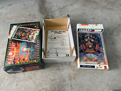 Vtg 1979 Tomy Atomic Arcade Tabletop Pinball Electronic Game W/ Legs And Box Works