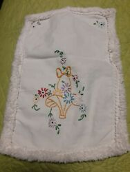 Nice Vintage Antique Hand Embroidered Item Small Table Scarf