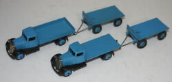 Very Rare Meccano Dinky Toys Early Post War 25 Trucks And Trailers In Light Blue