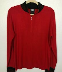 Vintage Meister One Quarter 1/4 Zip Ski Sweater Menand039s Size Xl Red Black Wool
