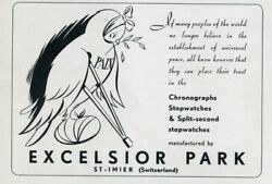 1951 Excelsior Park Watch Company Switzerland Universal Peace Swiss Print Ad
