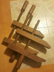 Antique Wood Vise Clamps - Two - Large Size