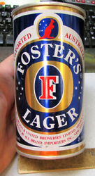 Australia Fosters Lager 25 Oz Push Tab Style Beer Can Empty Nice Graphics