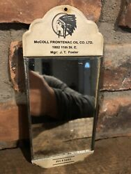 Original Early Painted Tin And Glass Mirror Mccoll Frontenac Oil Co Gas Sign