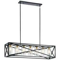 Kichler Moorgate 7-light Black Linear Chandelier With Clear Glass Shade